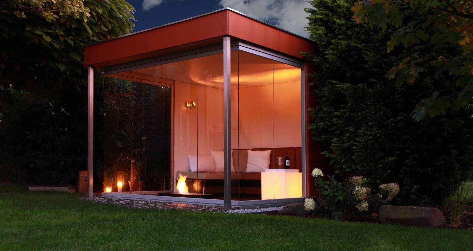 design gartenhaus moderne gartenh user schicke gartensauna. Black Bedroom Furniture Sets. Home Design Ideas